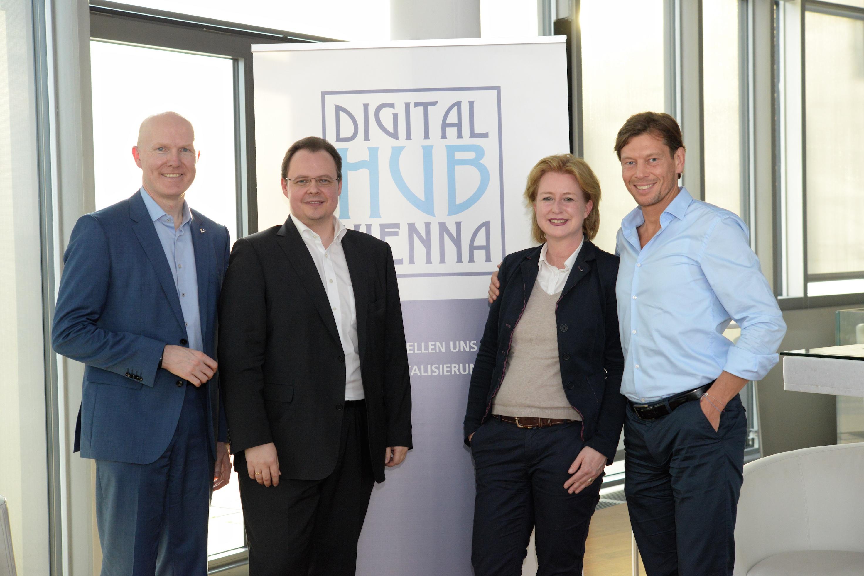 Digital Hub Vienna, 11.5.2017: Alexander Böckelmann (UNIQA), Michael Siegmund (Gründer Digital Hub Vienna/ Ancoreage), Birgit Kraft-Kinz (Gründerin Digital Hub Vienna/ KRAFTKINZ GmbH), Thomas Polak (UNIQA)