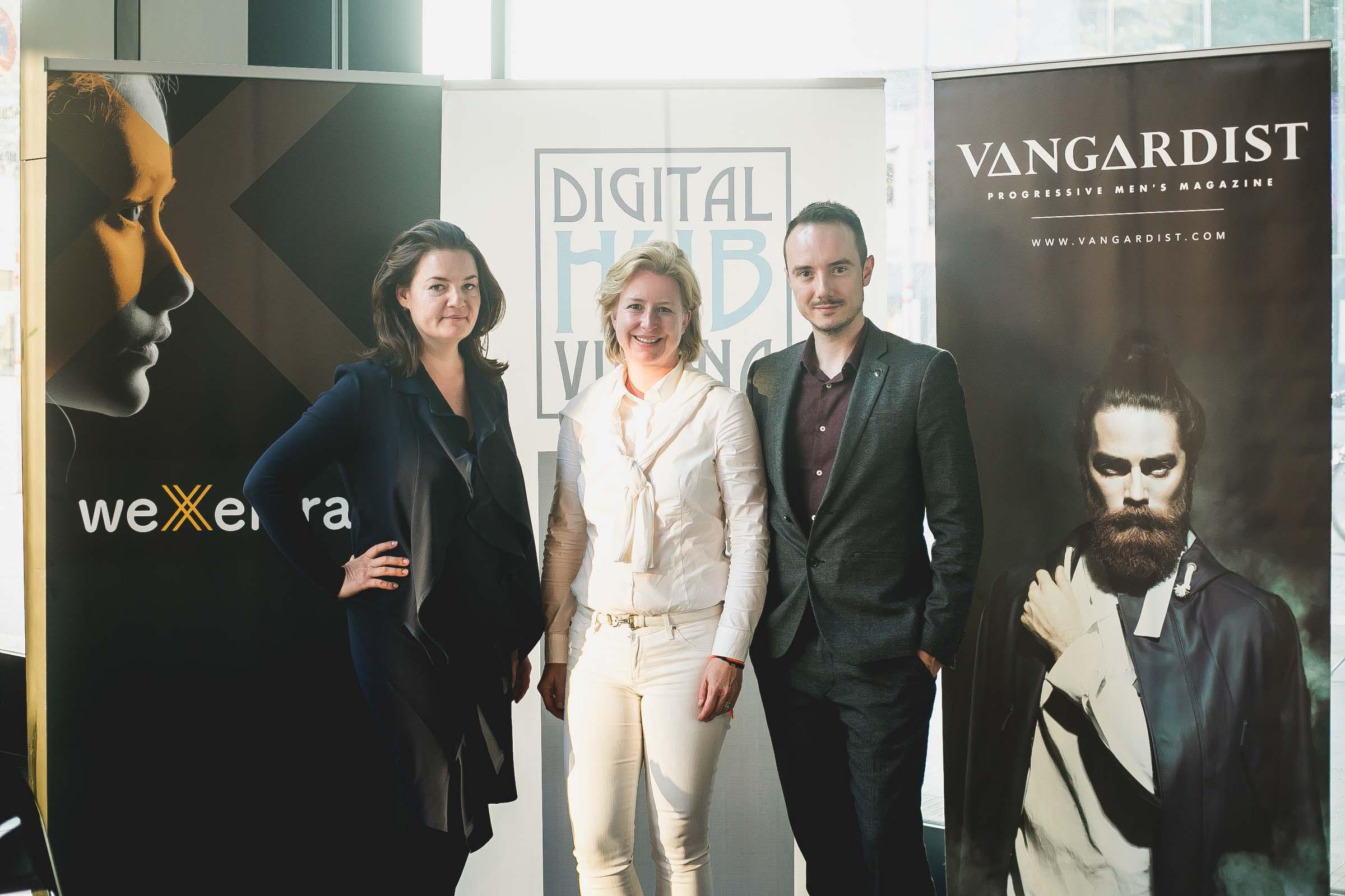 UNTEN Round Table: Eva Weissenberger (Hurrikan), Birgit Kraft-Kinz (Digital Hub Vienna/KRAFTKINZ), Julian Wiehl (Vangardist Magazin). Copyright: Digital Hub Vienna/Zytka